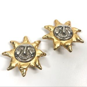 GIVENCHY Vintage Gold Tone & Silver Sun Earrings